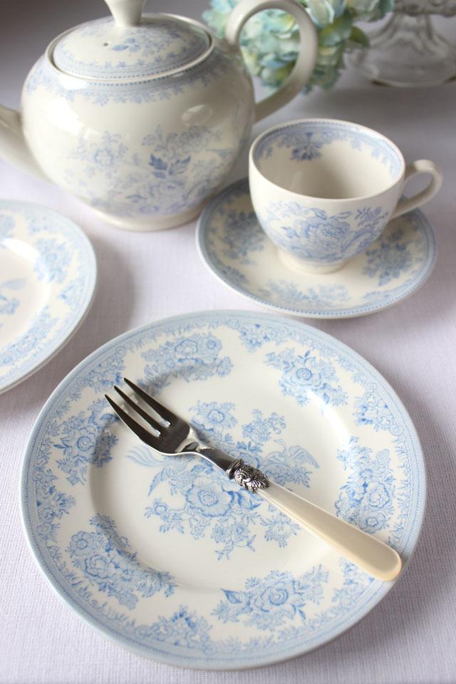burleigh(バーレイ) |ブルー アジアティック フェザンツ プレート Sサイズ