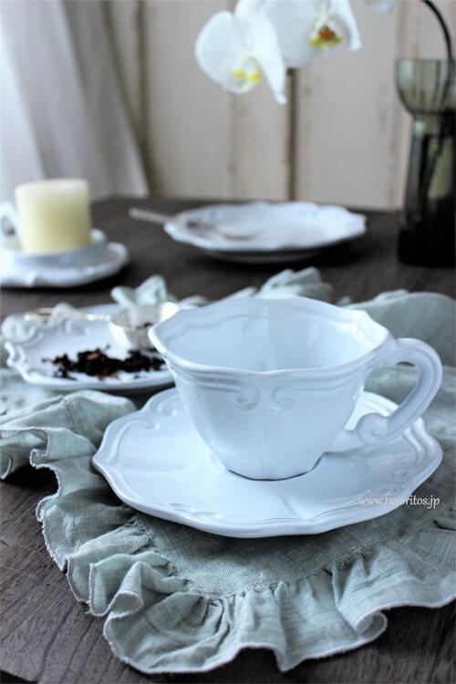 La Ceramica(ラ・セラミカ)|ホワイトストライプカップ&ソーサー