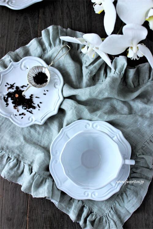 La Ceramica(ラ・セラミカ)|ホワイト ストライプ カップ&ソーサー