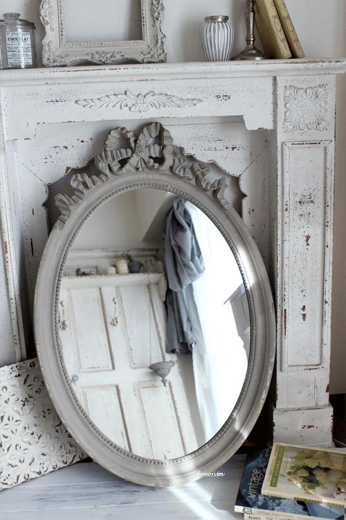 【送料無料】  Mathilde M.(マチルドエム)| リボンミラー Oval Louis XVI(縦型・特大サイズ)