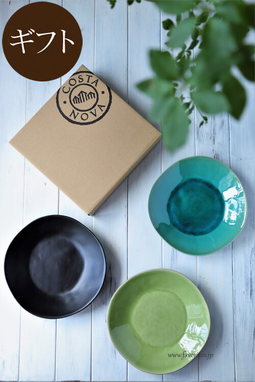 【ギフトセット】 COSTA NOVA(コスタノバ) |RIVIERA(リヴィエラ) スープ&パスタプレート 2枚セット ギフトボックス入り(サブル ノワール/アズール/ヴェール フレ)