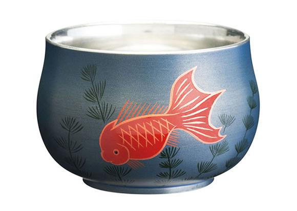 錫漆紀州蒔絵ぐい呑み 金魚 blue