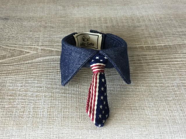 【ワンちゃん用お洒落付け襟 男の子用】  アメリカ国旗のネクタイ【アメリカンデニム】