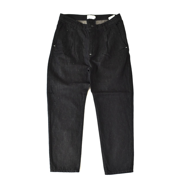 STILL BY HAND - Cotton/Linen 1tuck Tapered Pants - Black