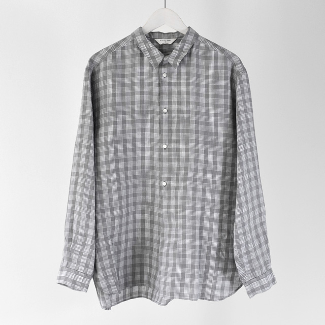 STILL BY HAND - Pullover Linen Shirts - Gray Check