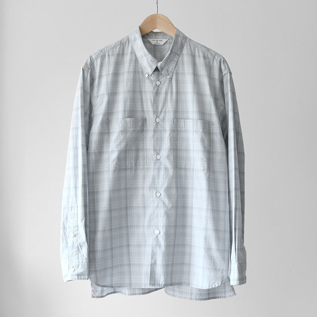 STILL BY HAND - W.Pocket Relax Fit B.D Shirts - Blue Check