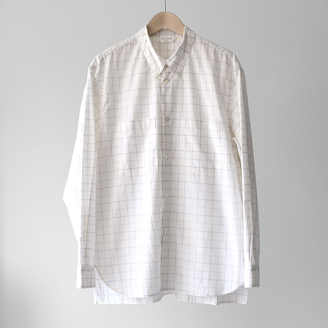 STILL BY HAND - W.Pocket Relax Fit B.D Shirts - White Check