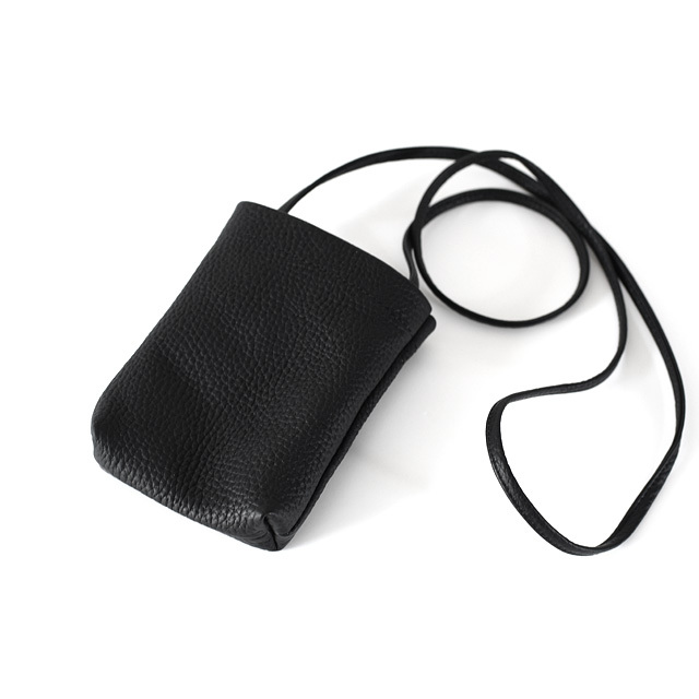 STILL BY HAND - Shrink leather Neck Pouch - Black