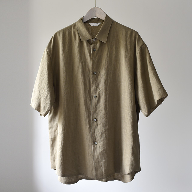 STILL BY HAND - Ramie Linen S/S Shirts - Olive