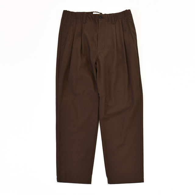STILL BY HAND - Organic Cotton Canvas 2tuck TP Pants - Brown