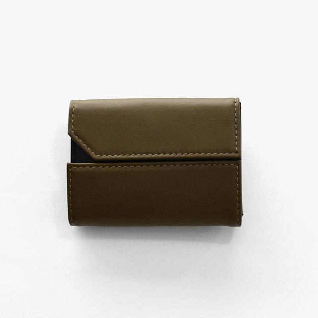nunc - Double - Italian Leather Mini Wallet - Khaki