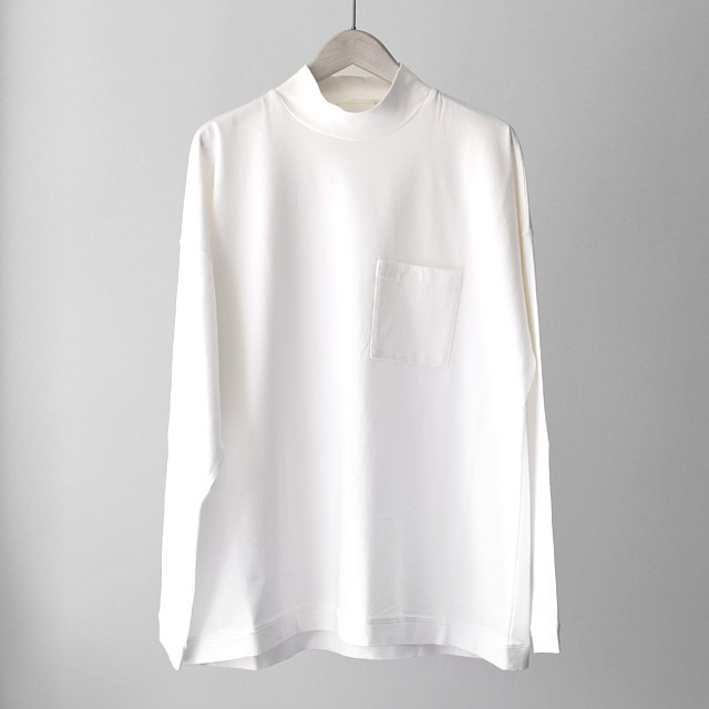 STILL BY HAND - Moc Neck  L/S Cut Sew - White