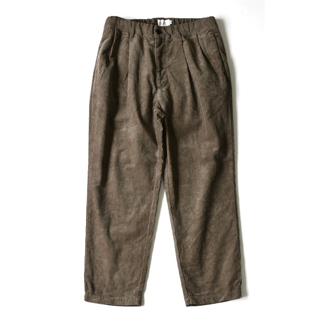 STILL BY HAND - 2tuck Corduroy Tapered Pants - Graige
