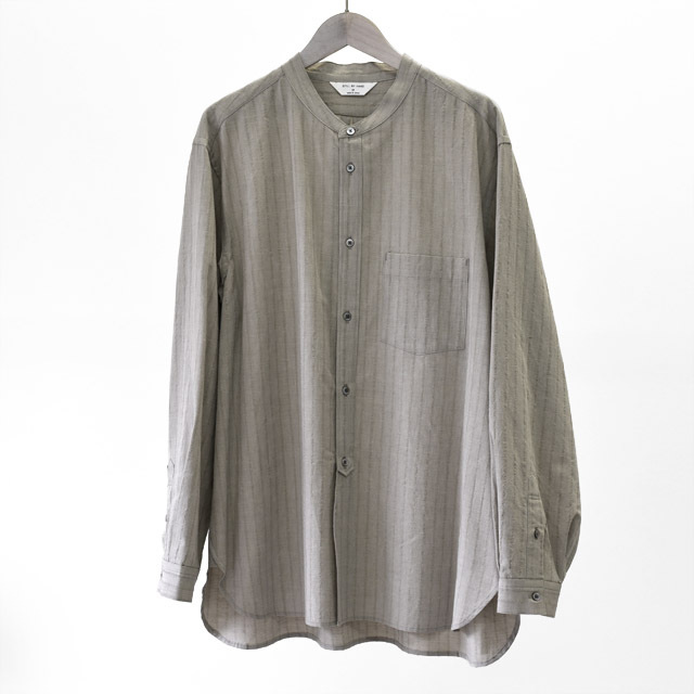 STILL BY HAND - Cotton/Wool Band Collar Shirts  -Taupe