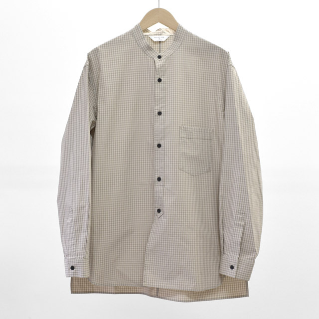 STILL BY HAND - Cotton Band Collar Shirts  - Beige Check