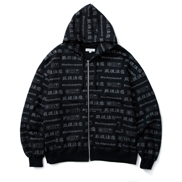 BlackEyePatch ブラックアイパッチ HANDLE WITH CARE ZIP HOODIE