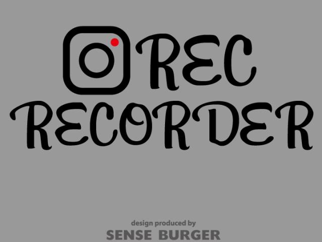 ≪ステッカー・デカール≫映えREC RECORDER 黒 ブラック