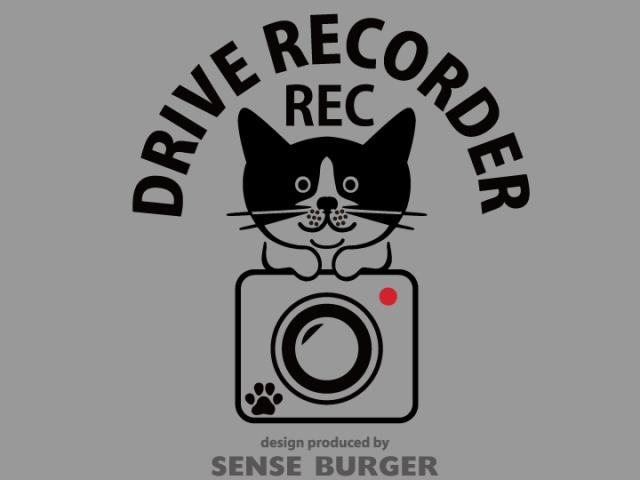 ≪ステッカー・デカール≫REC DRIVE RECORDER (cat on) 黒 ブラック