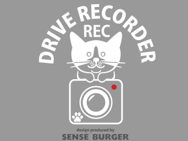 ≪ステッカー・デカール≫REC DRIVE RECORDER (cat on) 白 ホワイト