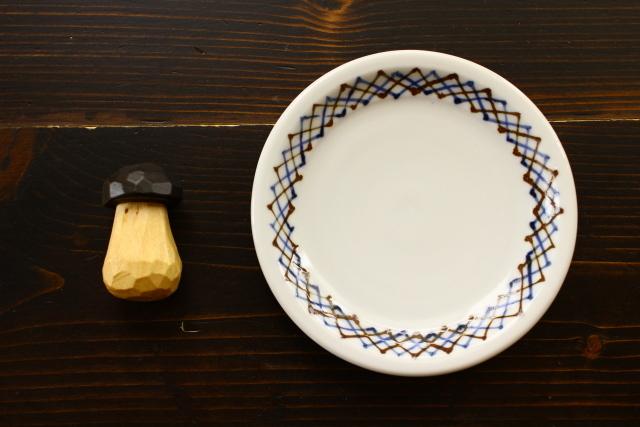 九谷青窯 呉須鉄格子5寸皿