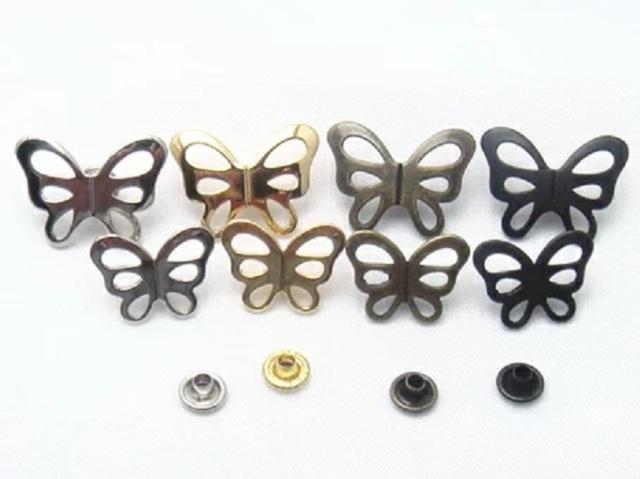 飾りカシメ 蝶(チョウ)。横のサイズ Sサイズ16ミリ、Lサイズ20ミリ。シルバー、ゴールド、アンティーク、ブラックがあります。