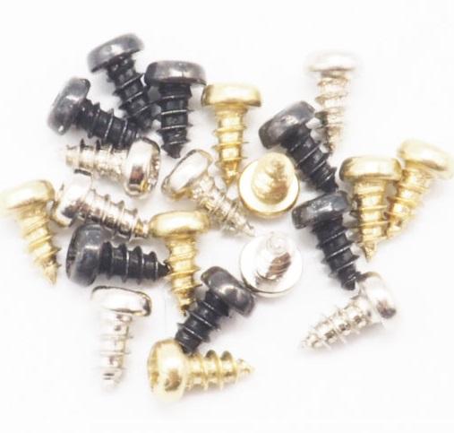ブローチピン コサージュピン用固定金具(ネジ) 10個セット。シルバー、ゴールド、ブラックがあります。