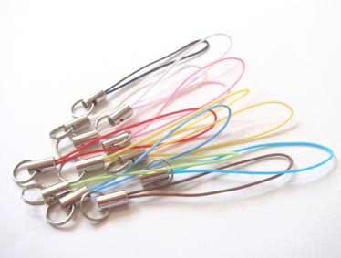 お買い得 ストラップ 紐 ストラップパーツ ストラップ金具 2重リング(ニコイル)付き 金具カラーはシルバー、ヒモのカラーは11色あります。