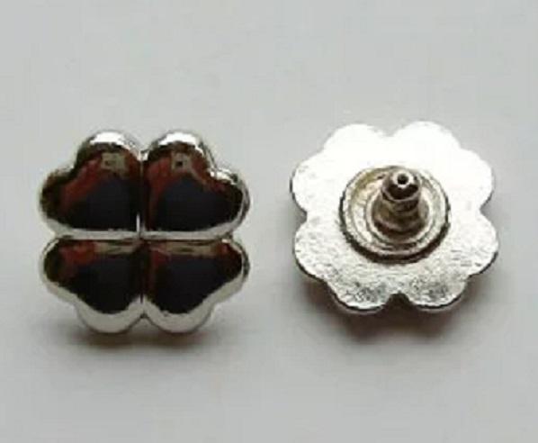飾りカシメ 花 クローバー U11210。横のサイズ 11ミリ。シルバー、ゴールド、アンティーク、があります。