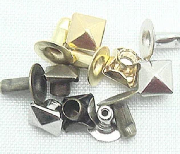 飾りカシメ 角ピラミッドカシメ(中空) サイズ4ミリ、6ミリ、9ミリ、13ミリ。シルバー、ゴールド、アンティークがあります。
