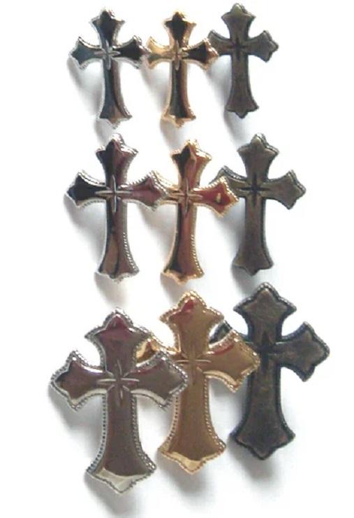 飾りカシメ クロス(十字架キラリ柄) U83000 横のサイズ12ミリ、15ミリ、20ミリ。シルバー、ゴールド、アンティークがあります。