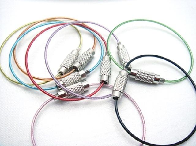ネジ式ワイヤーリングカラー ワイヤー太さ1.0mm 長さ12CM ステンレス製 ワイヤーキーホルダー