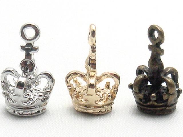 チャーム・王冠(丸) X88200 ヘッド部分 16ミリ、21ミリ、25ミリ、サイズ。カラーはシルバー、ゴールド、アンティークがあります。