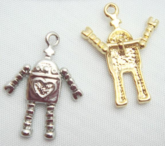 チャーム・ロボット22ミリ X97780。ヘッド部分22ミリ。シルバー、ゴールドがあります。