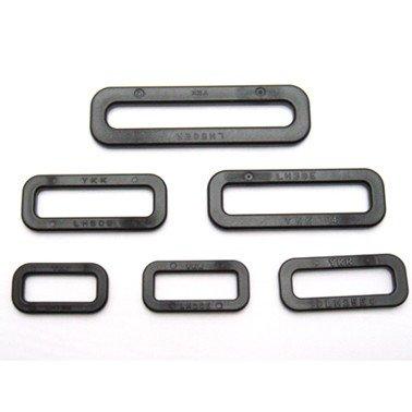 YKKテープアジャスタープラスチック 小判カン 平カン LOOP LH-Eシリーズ 18ミリ、20ミリ、25ミリ、30ミリ、38ミリ、38ミリ、50ミリ、サイズがあります。