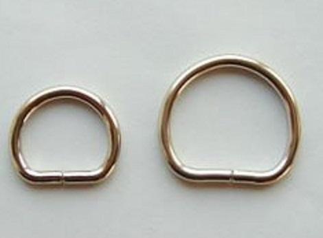 丸半月Dカン 日本製 10ミリ、15ミリ、18ミリ(線太2サイズ)、21ミリ、24ミリ(線太2サイズ)、30ミリ。 カラーはシルバー、ゴールドとなります。