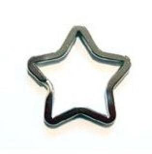 二重リング 二コイル キーリング 星型 カク線 30mm(横/内径)×25mm(縦/内径) 平面カクセン 。 カラーはシルバー、ゴールド、となります。