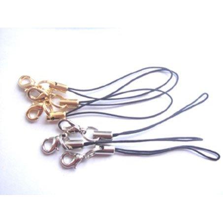 お買い得 ストラップ 紐 ストラップパーツ ストラップ金具 カニカン 2重リングつき 金具カラーはシルバー、ゴールド。ヒモのカラーはブラックとなります。