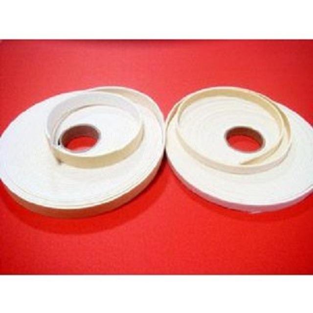 圧縮ウレタンテープ 芯材 肉盛り 8ミリ、10ミリ、12ミリ、15ミリ、20ミリ、25ミリ、30ミリ幅。厚みは1ミリと2ミリの合計14種類があります。巻き、メートル売りの両方が選べます。