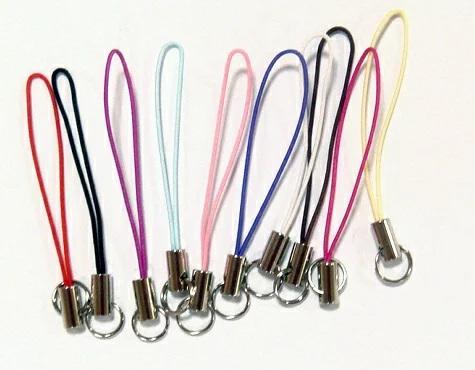 ストラップ 紐 ストラップパーツ ストラップ金具 2重リングつき 金具カラーはシルバー、ヒモカラーは10カラーあります。
