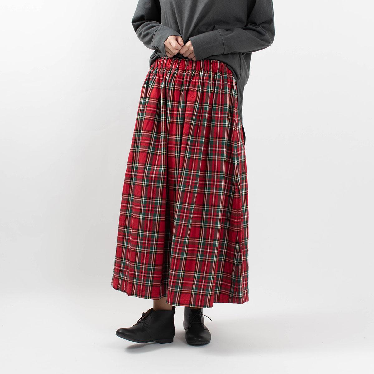 ichi トラッドチェックツイルスカート