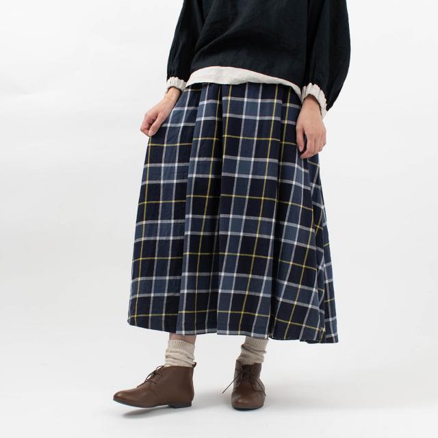 blue willow コットンリネンツイル チェックタックフレアスカート