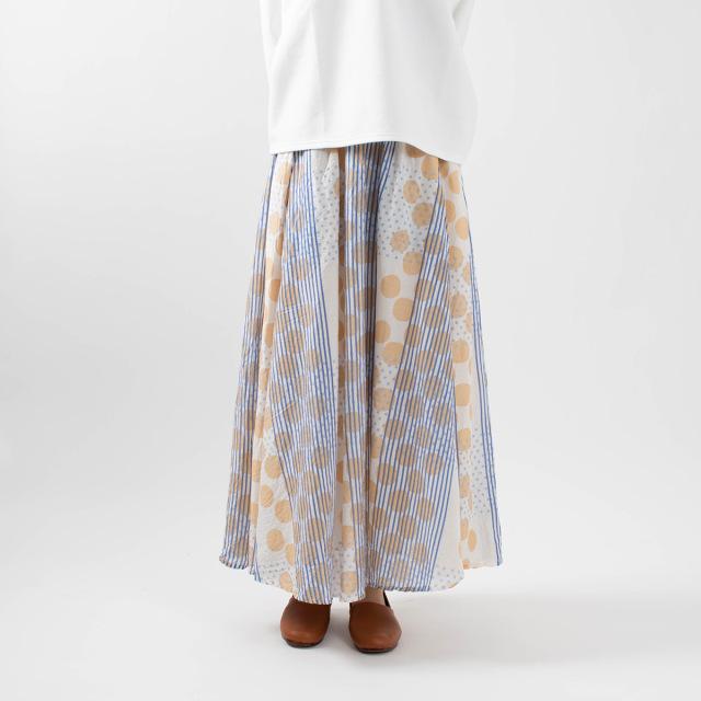 CALINER LIGHT VOILE dot mix プリント4枚接ぎフレアースカート