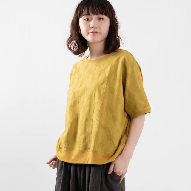 FIRST 異素材ドット柄Tシャツ