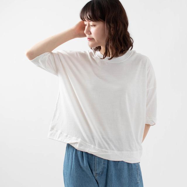 FIRST フライス編み裾ねじりTシャツ