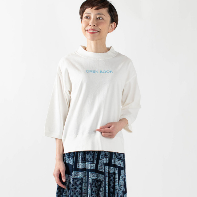 "PACIFIC PARK STORE 七分袖ボトルネックロゴプルオーバー""OPEN BOOK"""