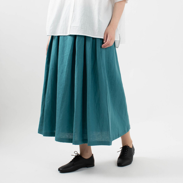 YARRA フレンチリネンバックギャザースカート