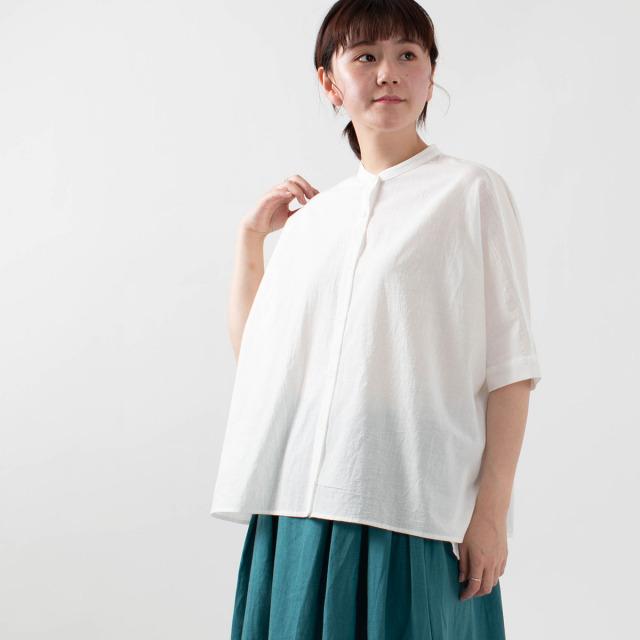 YARRA 東炊き綿スラブスタンドカラーシャツ
