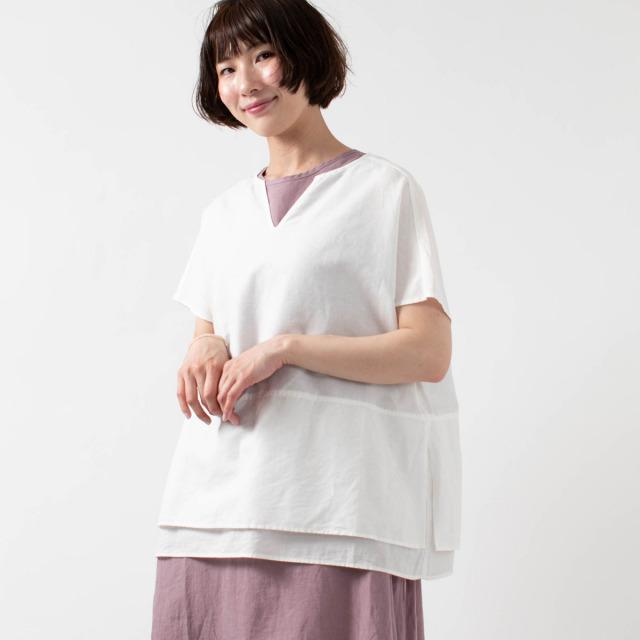 YARRA 裾切り替え異素材コンビプルオーバー