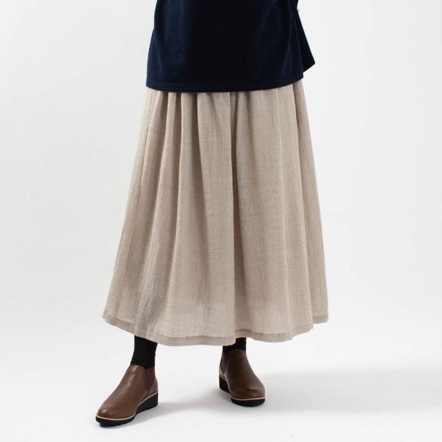 YARRA ウールガーゼタック&ギャザースカート