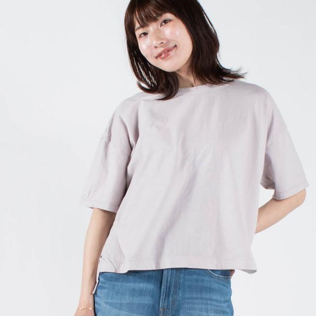 prit リサイクルムラ糸5分袖ワイドTシャツ